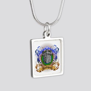 Rodriguez Family Crest Silver Square Necklace